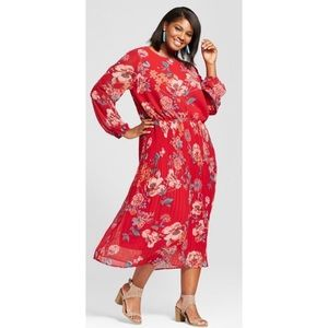 Ava & Viv Pleated Red Floral Summer Maxi Dress